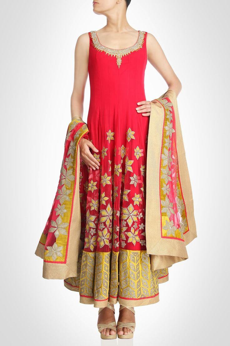 Red color Long anarkali suit – Panache Haute Couture