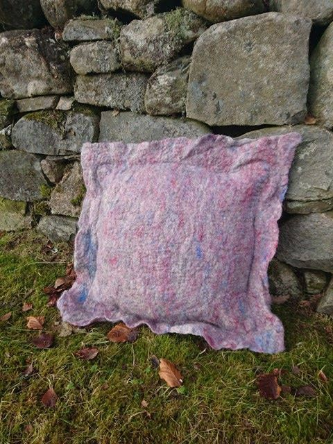 Felted cushion pillow wool home decoration by OhForTheLoveOfFibre on Etsy #cushion #pillow #homedecor