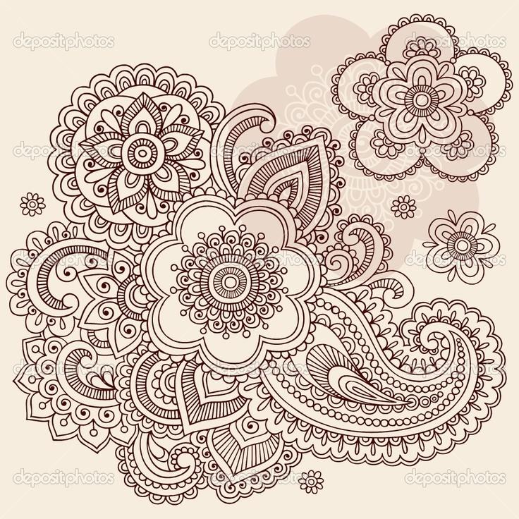 henna patterns   Henna Mehndi Paisley Flowers Doodle Vector Design   Stock Vector ...
