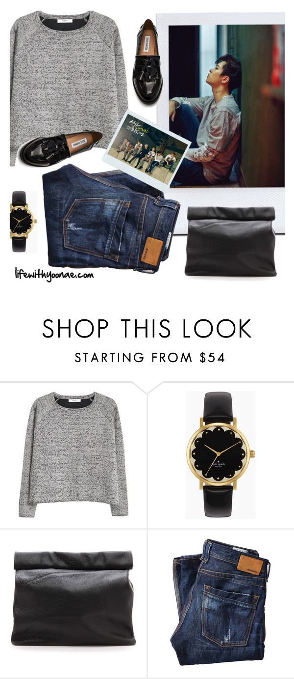 """Fall in Korea: inspired by Youngjae / GOT7"" by yooane on Polyvore featuring MANGO, Kate Spade, Marie Turnor, Diesel, Steve Madden, Fall, Autumncolors, youngjae, GOT7 and autumn2015"