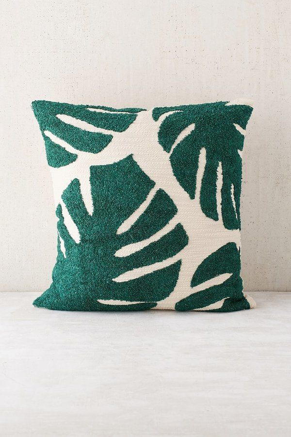 Cotton pillow with palm-inspired crewel embroidery