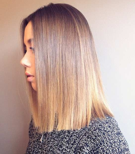 Straight Blunt Lob with Soft Balayage Highlights
