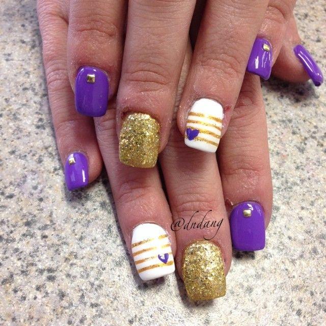 My purple and yellow Vikings football nails Nail art t