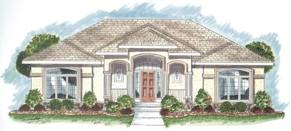 This is a single story mediterranean house with an open kitchen and dining area and a small office overlooking a courtyard. There is also extra storage in the 648 sq. ft. 2 car garage.