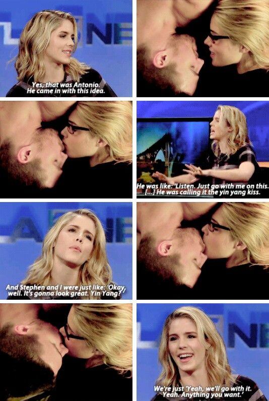 "Emily talking about ""the upside down kiss."" #KTLA Morning News.  - We're blessed for have Antonio srsly #arrow #Olicity"