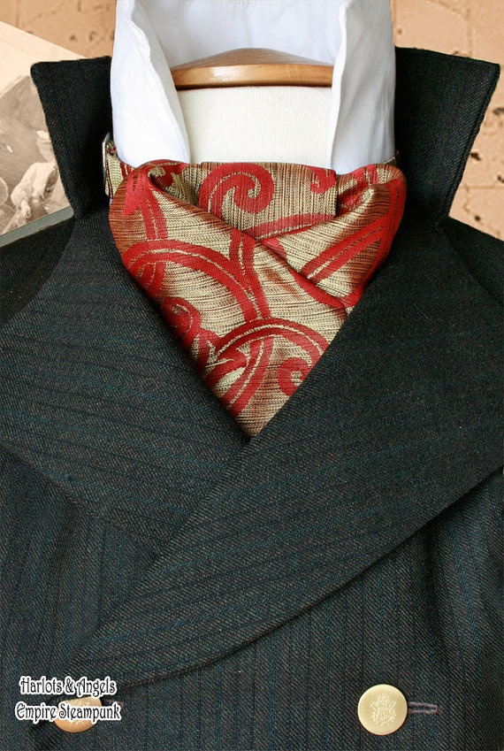 A beautiful steampunk cravat made from an Burnished Gold and Ocher Silk fabric.