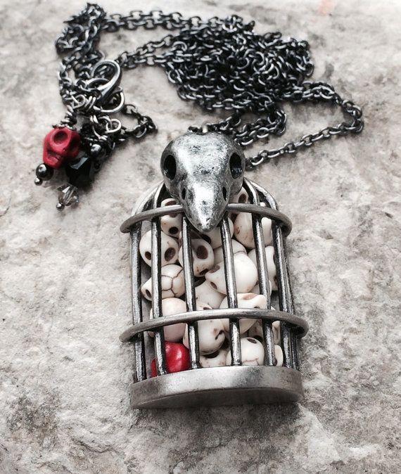 Raven skull pendant necklace bird skull goth by crushedcameo #skull #skulljewelry #halloween