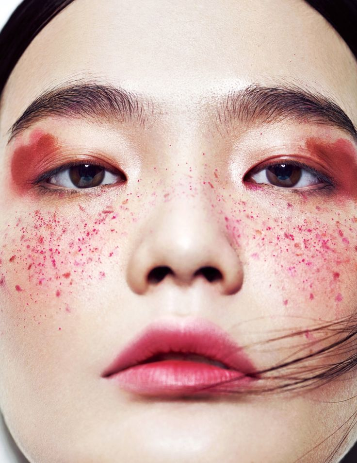 red freckles, editorial make up, high fashion beauty