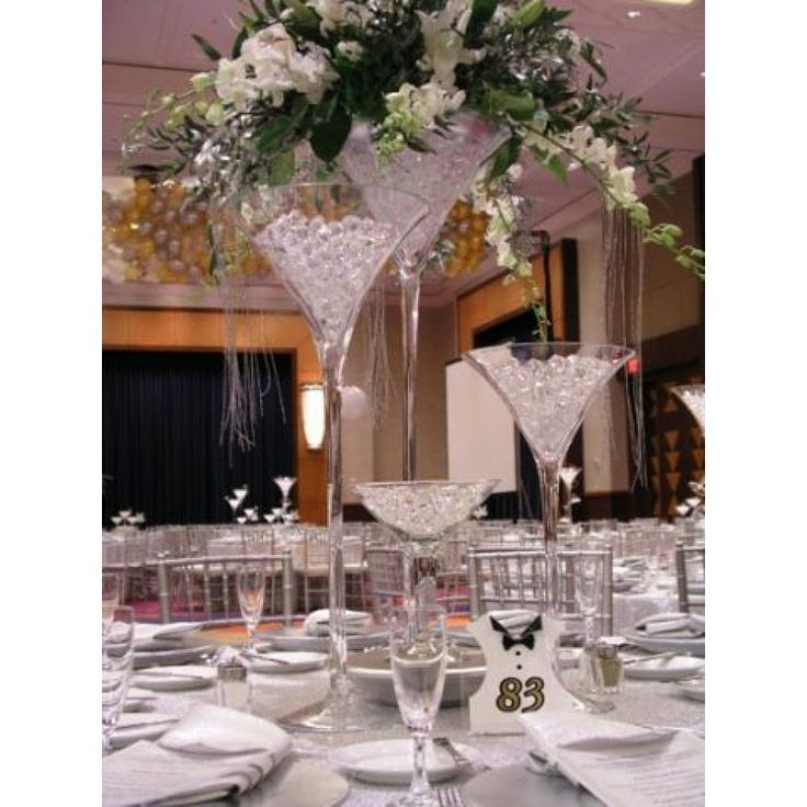 Martini Glass Floral Arrangements And Centerpiece Ideas Are Great For Weddings Engagement Parties Showers