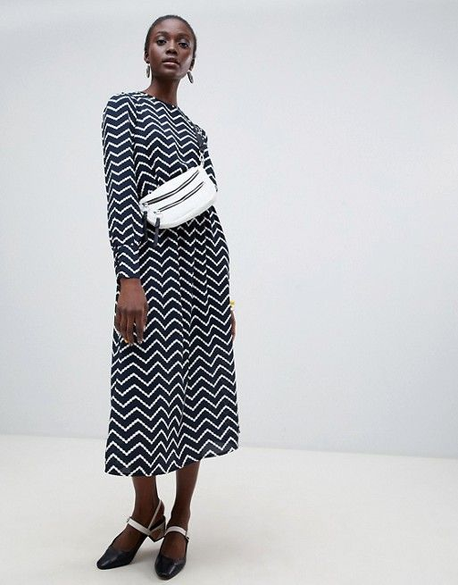 369cc0ef Vero Moda Aware geo print midi dress in black | Dresses | Vero moda,  Fashion, Dresses