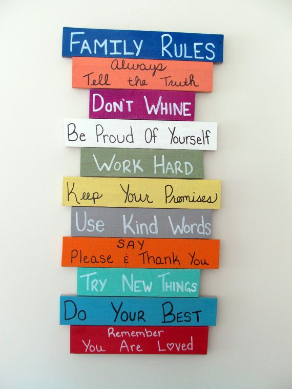Pallet Wood Sign, Reclaimed - Family Rules via Etsy