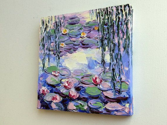 Palette Knife Oil Painting on Gallery Wrapped Canvas. The sides are painted like the front, so it is ready to hang (provided with a hook). TITLE: Monets Lily Pond - Purple Size 8x8 inches This was painted after Monets Lily Pond painting and combine my style of using the palette knife. I love to add some more lilies to the painting. Great to be a gift for gardeners and flower lovers. I also wrap the painting as a ready gift to give. Sent via Tracking Mail, *** Shipping time is 14 to 28 d...