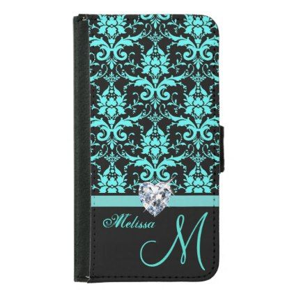 Aqua turquoise blue & black victorian damask Name Wallet Phone Case For Samsung Galaxy S5 - gift for her idea diy special unique
