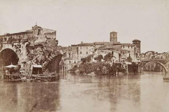 1850/52 Caneva Giacomo . Ponte Rotto e Isola Tiberina .