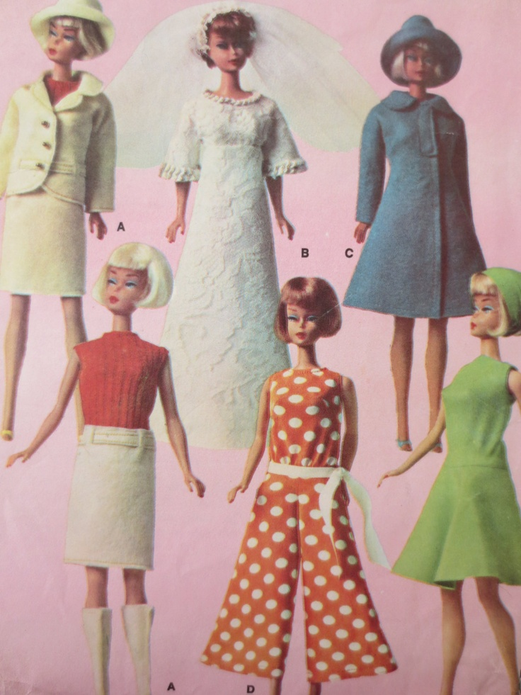 Vintage McCalls 8532 Sewing Pattern, Barbie Clothes, 1960s Doll Wardrobe, Barbie Clothes Pattern. $12.50, via Etsy. (pretty sure my mom made the cute jumpsuit and wedding gown for my Barbie)