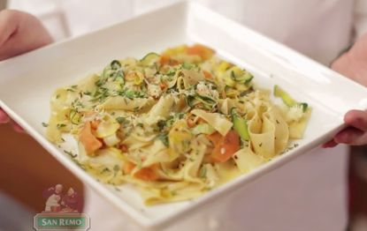 Spring Vegetable Ribbons with Pappardelle - San Remo