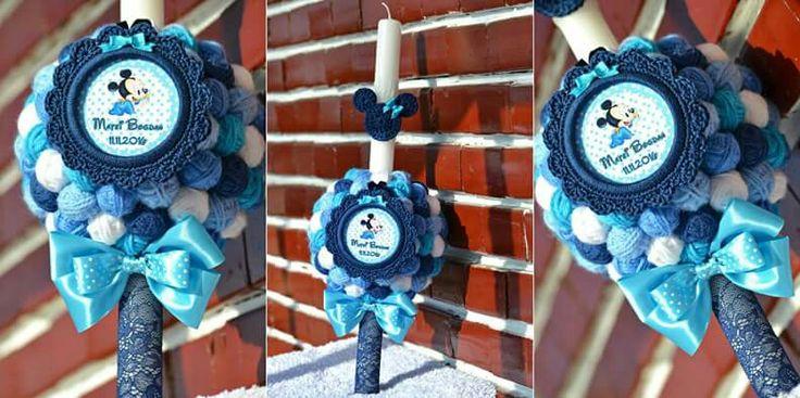 Lumanare botez nonflorala...handmade...Tematica Mickey Mouse