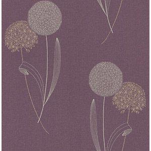 Graham & Brown Essence Alium Decorative Wallpaper Damson 10m