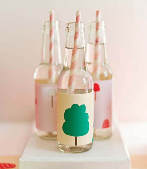 Custom bottle wrappers for a party.