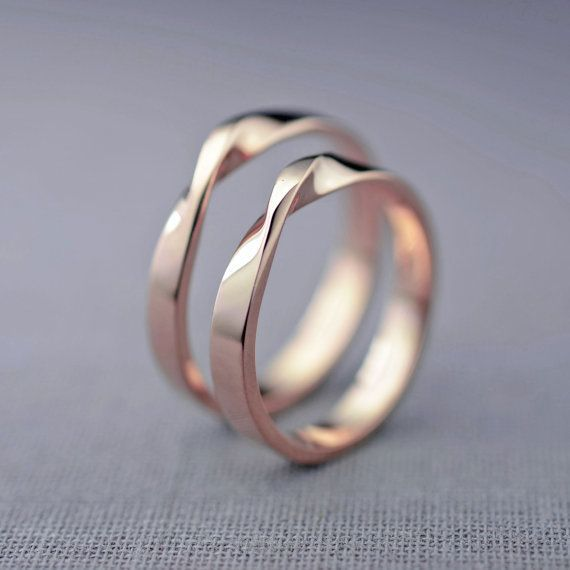 14K Rose Gold Mobius Wedding Ring Set  Hers and by LilyEmmeJewelry