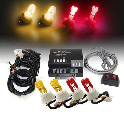 Xprite Amber & Red 120W 4 HID Hide-A-Way Strobe Lights