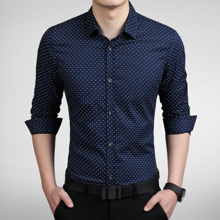 2015 New Fashion Dot Men Shirt Slim Fit Mens Dress Shirts Camisas Hombre Long Sleeve Vestidos