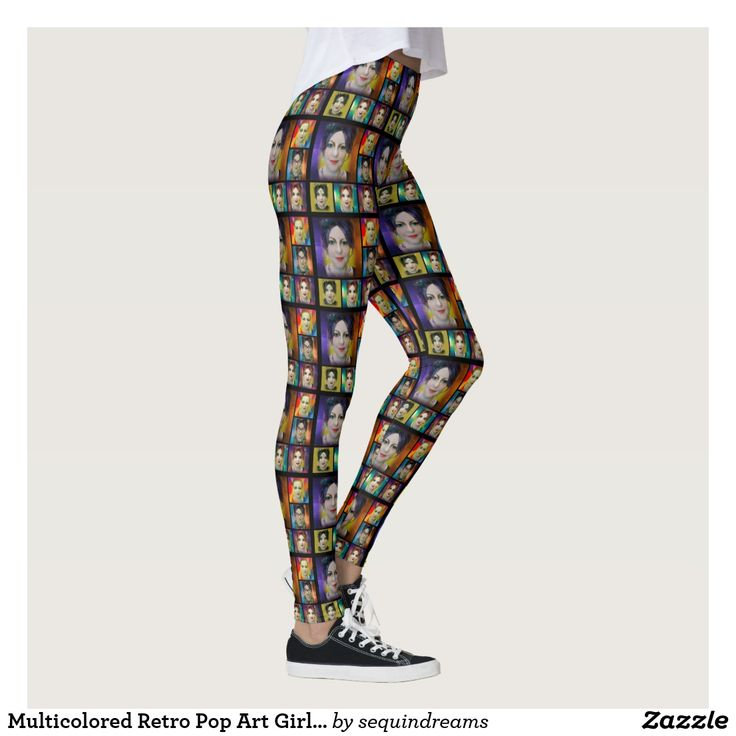 Multicolored Retro Pop Art Girl Photo Collage Leggings