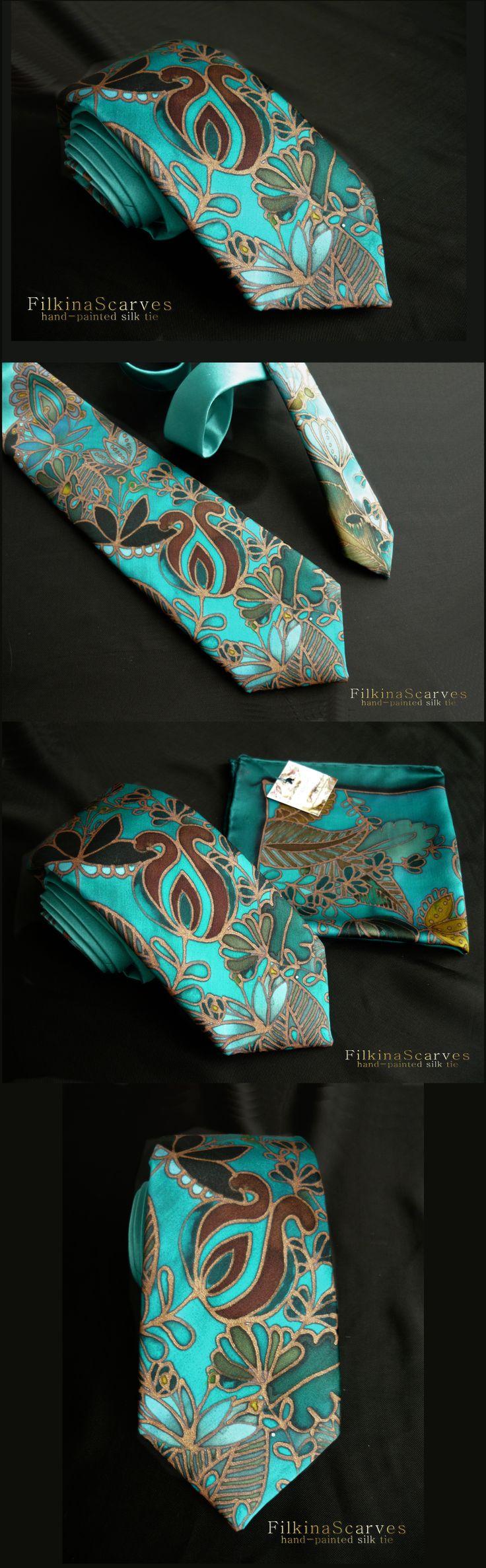 @FilkinaScarves Etsy . #MensFashion #Menstie #SilkNecktie #Paintedtie #HandPaintedtie #MintNecktie #BlueTie #GreenTie #Weddingtie #Bisinesstie #PartyTie #Batiktie FS 42 www.etsy.com/filkinascarves/listing/535904131/mens-tie-silk-necktie-painted-tie?ref=shop_home_active_2 Unique Luxury hand-painted silk satin tie in blue-green-petroleum, elegant abstract flowers hand drawn on blue green background with dark copper contour. The tie was painted using professional silk dyes HDupont; hand-sewn…