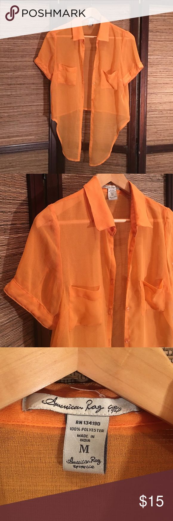 American Rag Crop Top Sheer orange crop top with tie front. Great for throwing over a tank top or lace bandeau. American Rag Tops Blouses