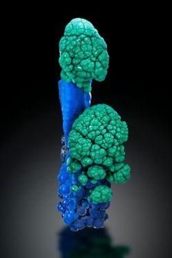 Azurite with Malachite - Morenci Mine, Morenci, Copper Mountain District, Shannon Mts, Greenlee Co., Arizona, USA Size: 38 x 10 x 10 mm