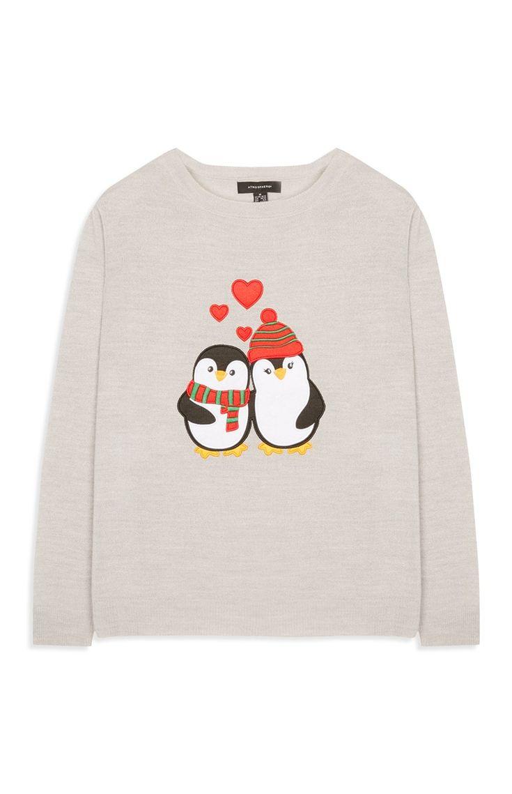 Weihnachtspullover mit Pinguinprint