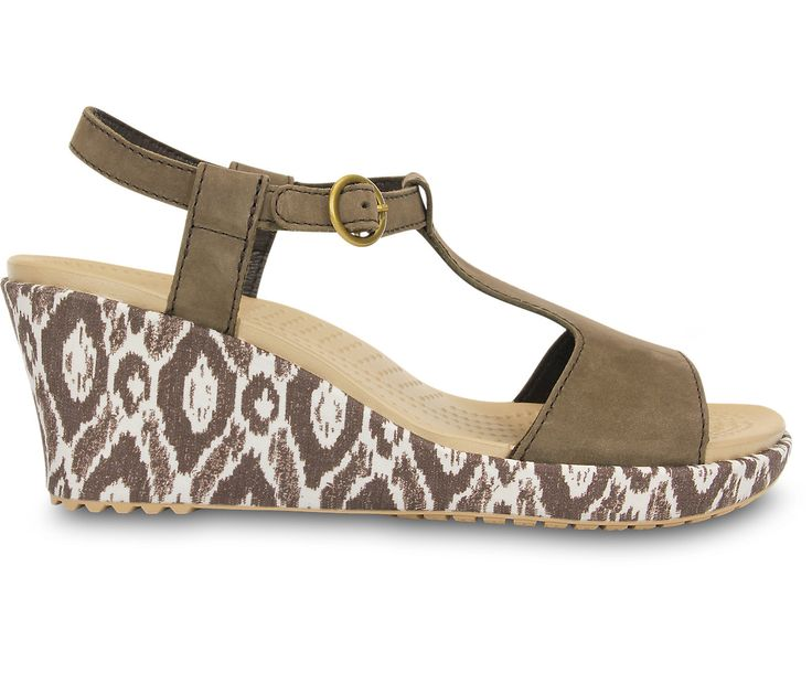 Mew Arrived Women Crocs A-Leigh Snake Wedge Sandal Brown - K6L73H6621