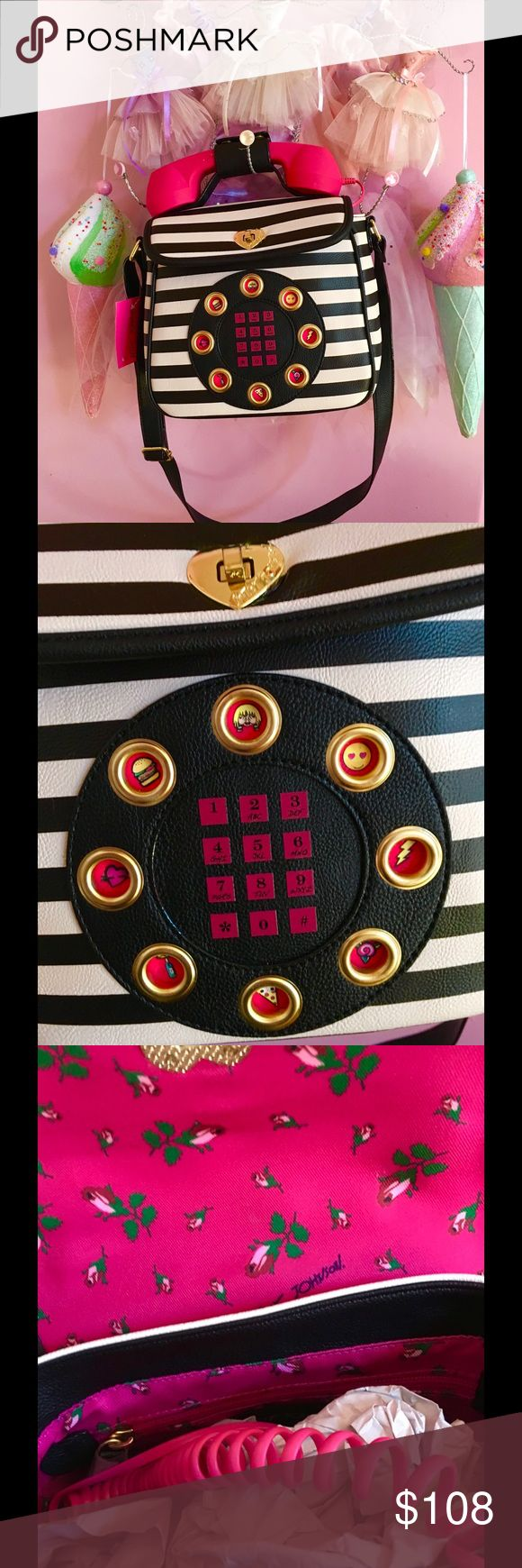 Betsey Johnson Phone Purse  Betsey Johnson Talk is chic! Super fun phone crossbody featuring a removable handset  that you can listen through when plugged into your cellphone! 1 zip  pocket, 2 slip pockets & key holder 9 Wx 8 H x 4-1/4 D Top Handle, turn lock closure, Betsey Johnson Bags Crossbody Bags