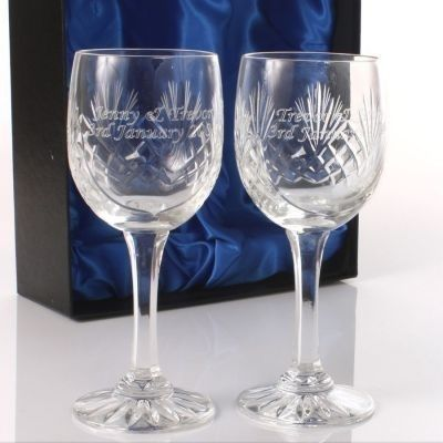 £34.90 Wine glasses engraved with a special message from you to them - perfect for weddings, engagements and anniversaries | The Personalised Gift Shop