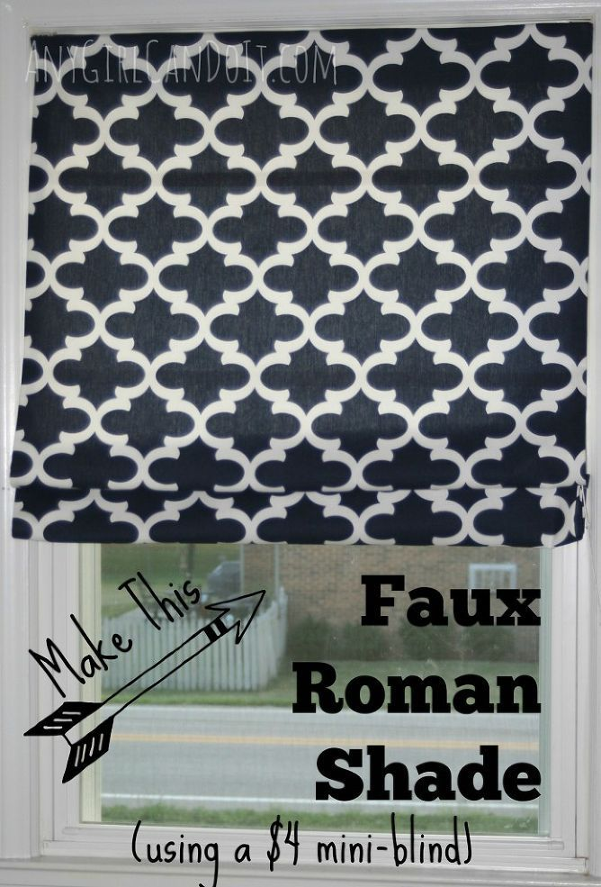 "Faux Roman Shade From a $4 Mini Blind - Okay, I admit it…I stole my husband's man cave. Well it wasn't so much a man cave as an ""office"" space he wanted but did…"