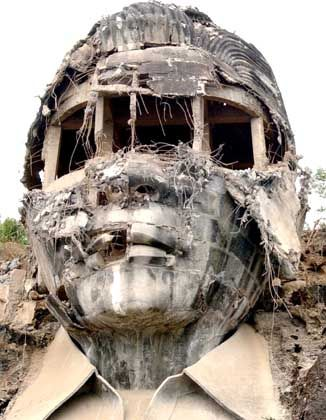 The remains of Ferdinand Marcos concrete giant bust, Mt Pugo, La Union province, Philippines.
