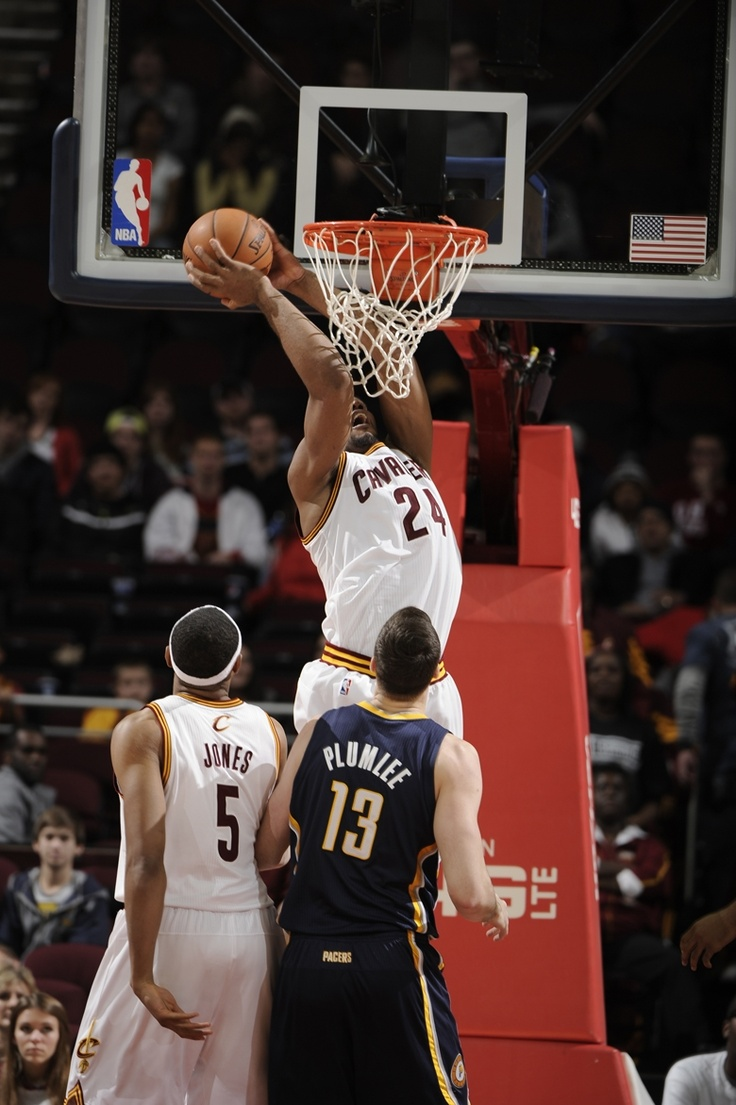 Center Samardo Samuels hammers down a dunk against the Indiana Pacers at TD Garden on December 21, 2012 in Cleveland, Ohio - photo courtesy of David Liam Kyle / NBAE via Getty Images.