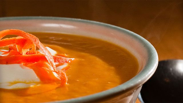 This creamy carrot ginger soup recipe will be a great first course for Valentine's dinner.