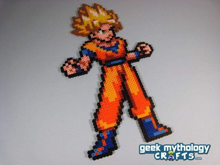 Super Saiyan Goku Dragon Ball Z -  Perler Bead Sprite - Pixel Art Decoration. $12.00, via Etsy.