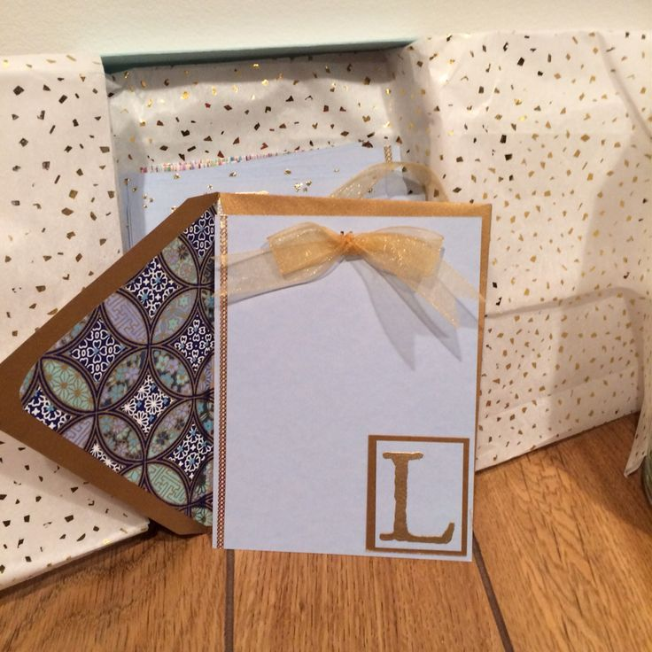 Monogrammed notecards and lined envelopes using PaperSource papers!