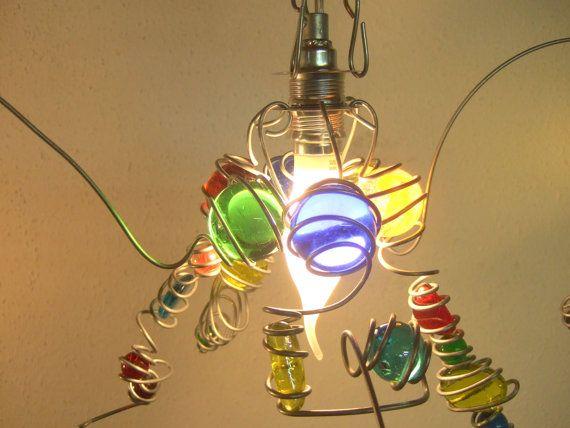 Bunte Hängelampe COLOR Glas/Draht E14 Fassung LED von dutchlights