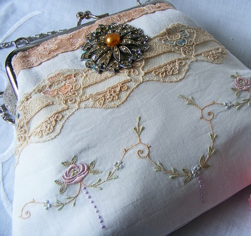 vintage linen upcycled purse, beautiful