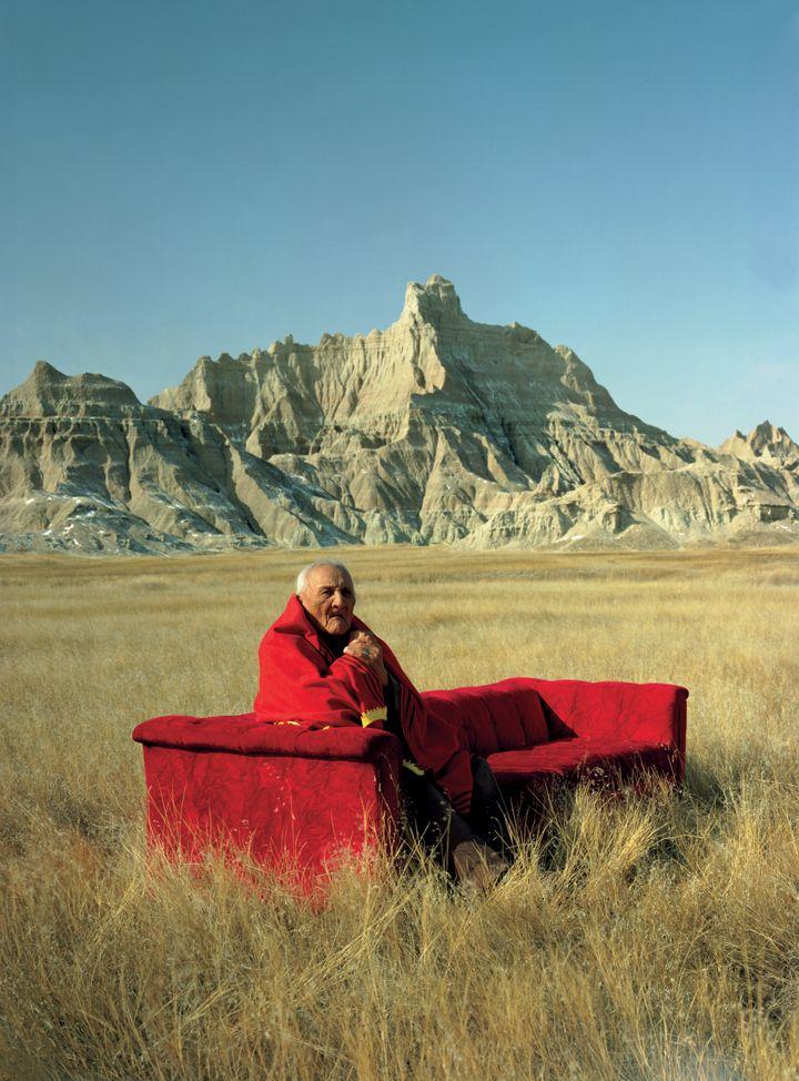 Frank Fool's Crow, Oglala Lakota medicine man, South Dakota Badlands, USA, 1983.