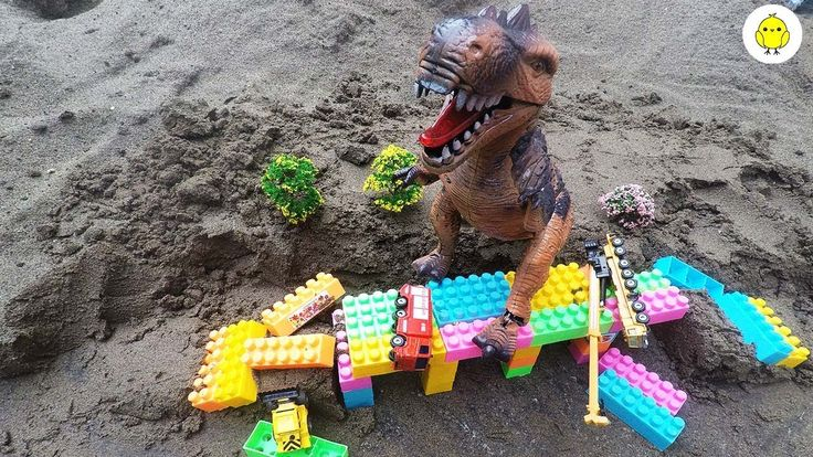 Dinosaur destroy bridge and car video for kids, Toys video for children ...