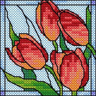 Maria Diaz Designs: Exclusive cross stitch designs, cross stitch charts  cross stitch books  Free tulips through February!