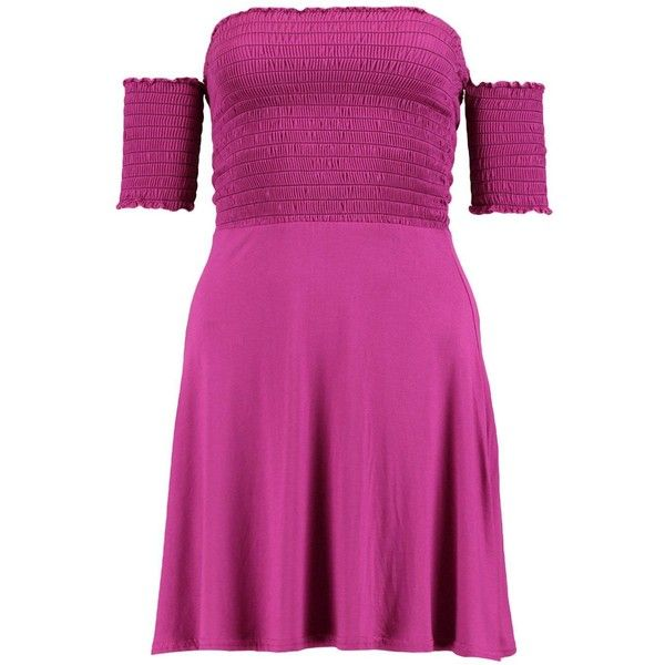 Boohoo Petite Lottie Shirred Off The Shoulder Skater Dress ($24) ❤ liked on Polyvore featuring dresses, off shoulder dress, purple skater dress, petite dresses, off shoulder skater dress and purple cocktail dresses