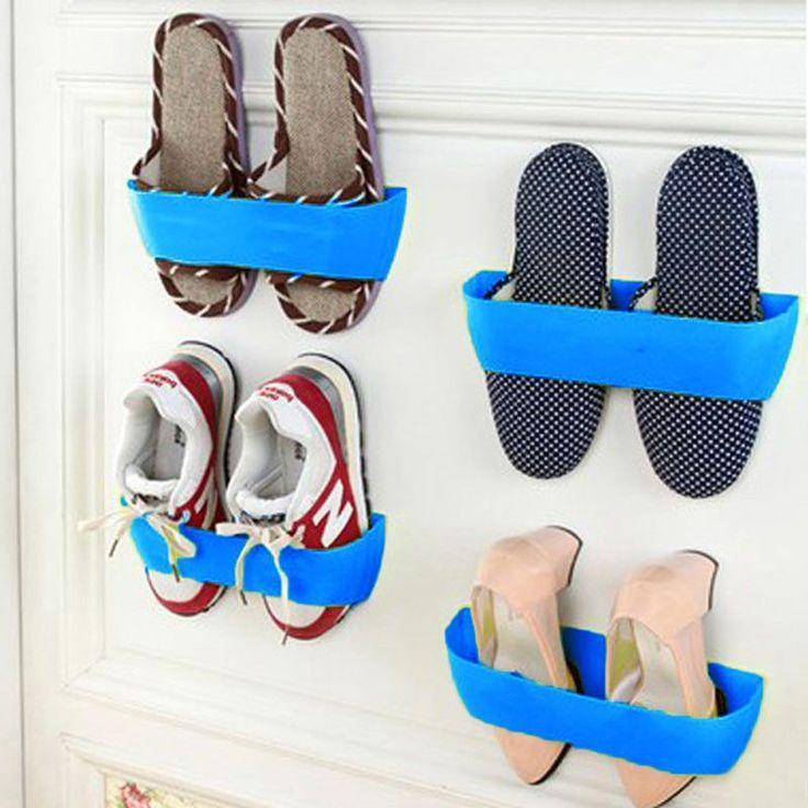 DU# Creative Adhesive Shoes Rack Wall Hanging Shoes Storage Organizer Hanger Free Shipping