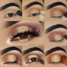 Gold Glitter Eye Makeup Tutorial for Brown Eyes #goldeyemakeup