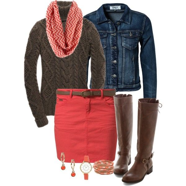 """""""sweater and a skirt for fall"""" by elizabethdawes on Polyvore"""