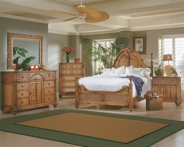 Palm Court Tropical Island Pine Wood MDF Rattan Master Bedroom Set